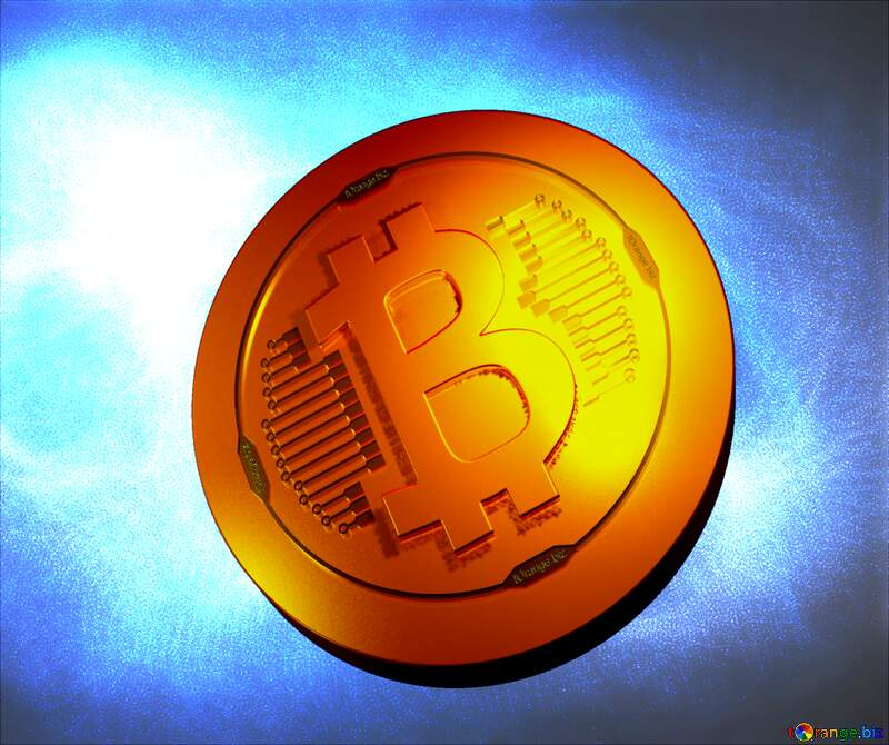 Blue background  Bitcoin gold light coin №40636