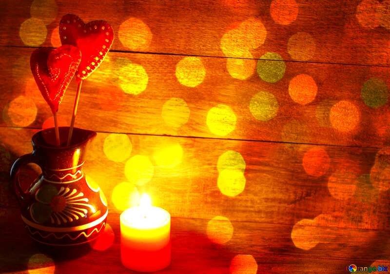 Candle and heart background №49219