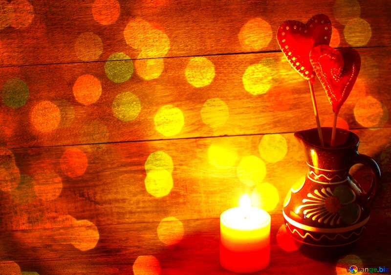 Candle and heart Christmas background №49219