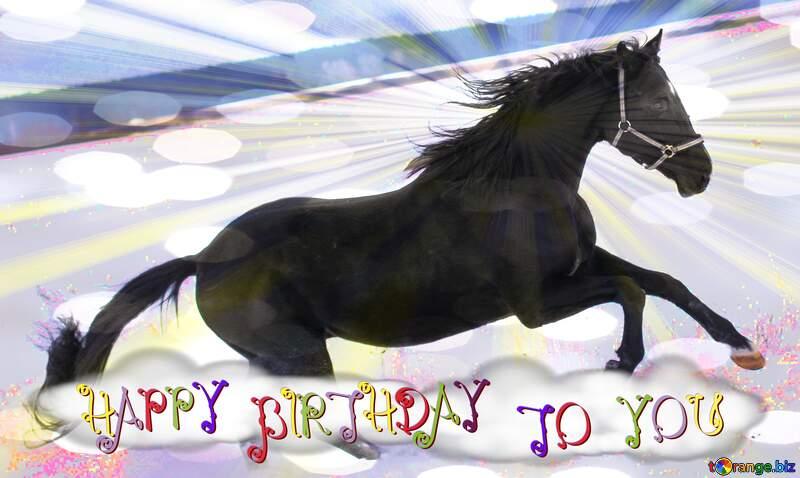 happy birthday card winter Horse snowy №18193