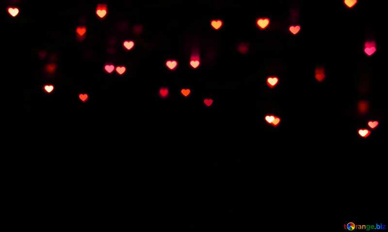 Lights hearts dark background red lights №37845