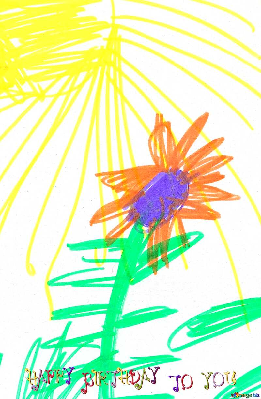 Children drawing happy birthday flower №18678