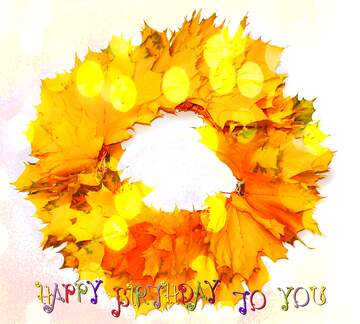 The effect of light. Vivid Colors. Happy Birthday card.