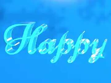 Happy glass blue background