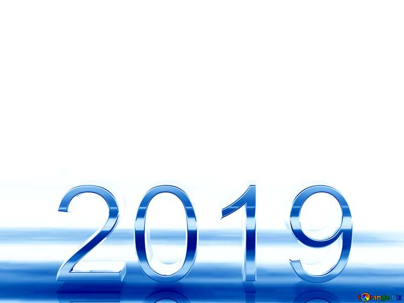 2019 3d render blue digits with reflections dark background isolated №51520