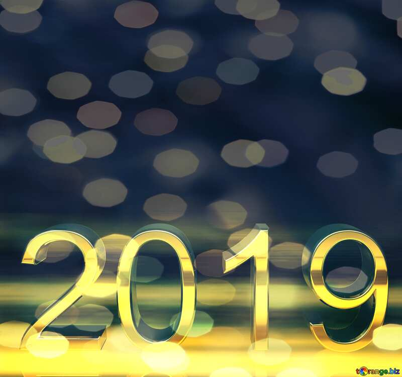 2019 3d render bokeh  gold digits with reflections dark background isolated №51520