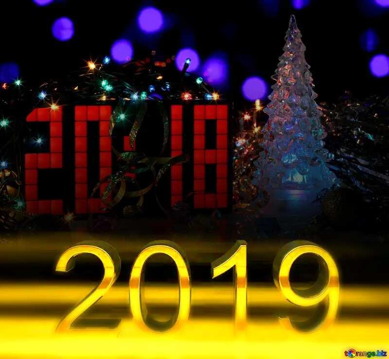 2019 3d render dark background 2018 New Year Cards №48284