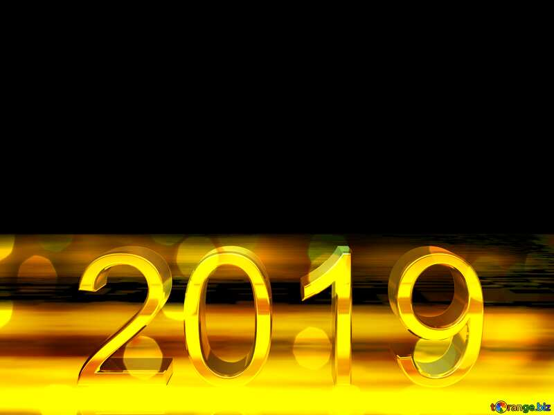 2019 3d render gold digits with reflections dark background isolated Bokeh №51520