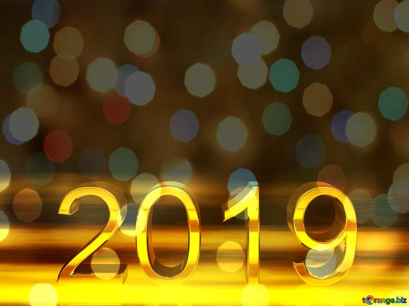 2019 3d render gold digits with reflections dark background isolated Bokeh Background №51520