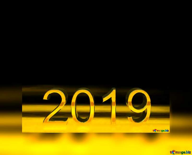 2019 3d render gold digits with reflections dark background isolated Card №51520