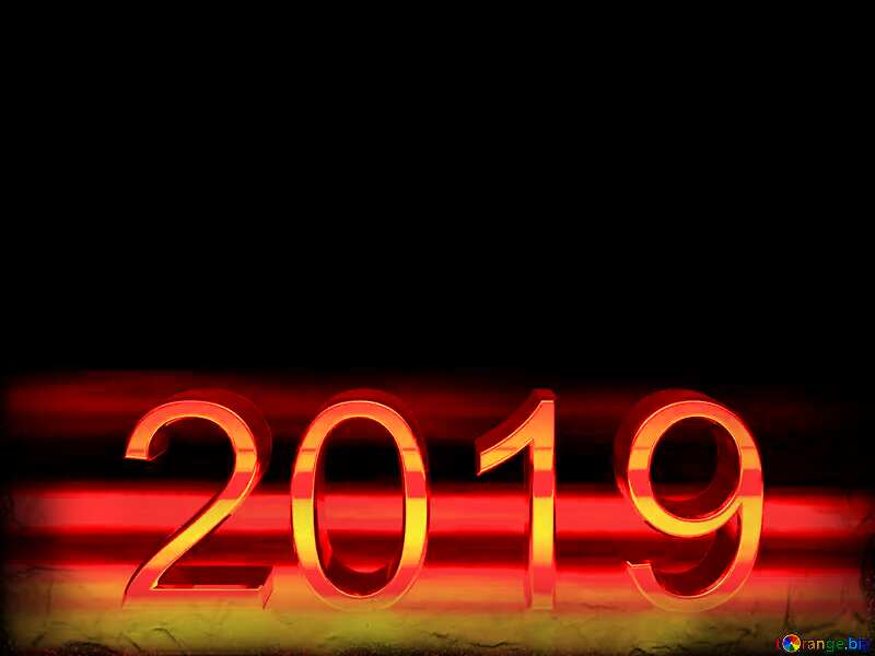 2019 3d render gold digits with reflections dark background isolated Dark Frame Red №51520