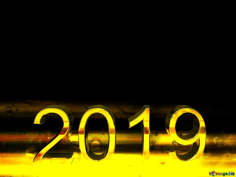 2019 3d render gold digits with reflections dark background isolated Drops Rain Glass №51520