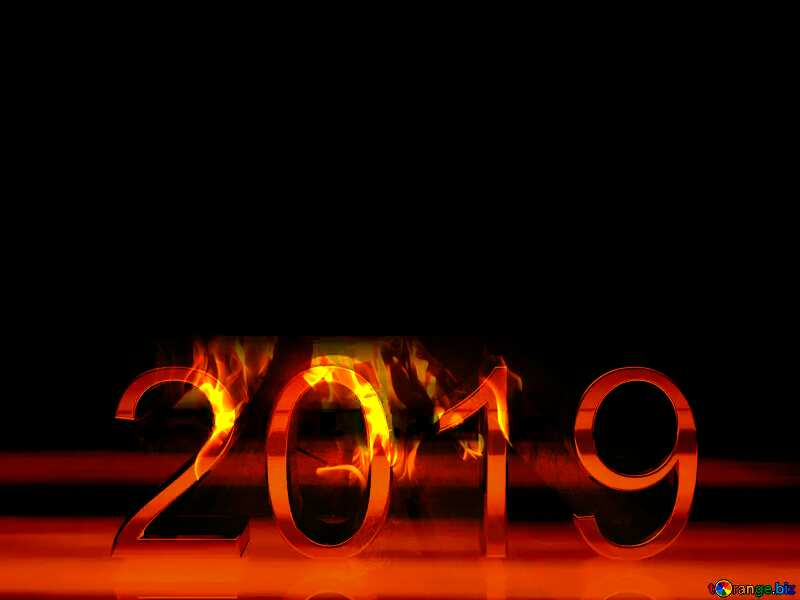 2019 3d render gold digits with reflections dark background isolated Flame Fire №51520