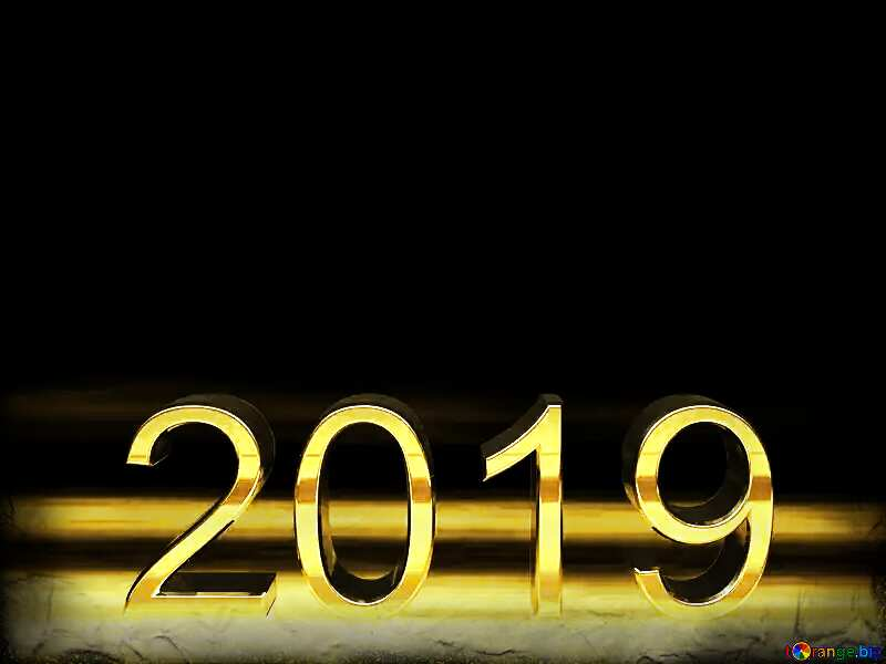 2019 3d render gold digits with reflections dark background isolated Frame Black №51520