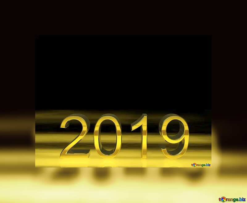 2019 3d render gold digits with reflections dark background isolated Frame Border №51520