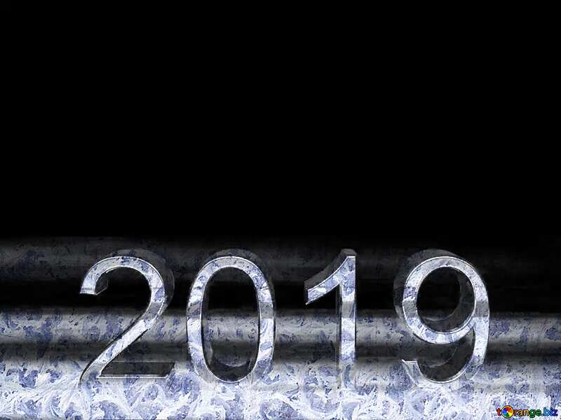 2019 3d render gold digits with reflections dark background isolated Frozen №51520