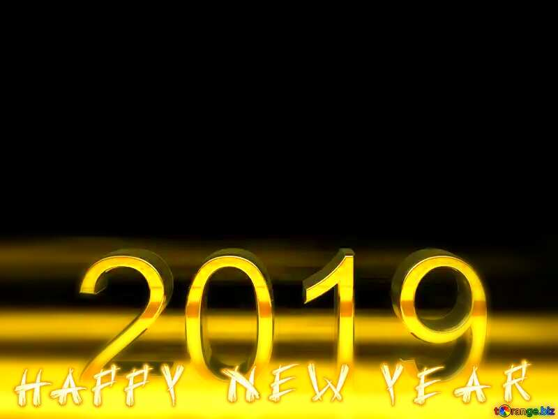 2019 3d render gold digits happy new year №51520