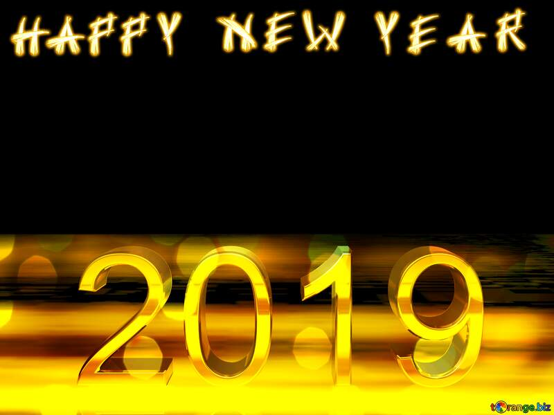 2019 3d render gold digits with reflections dark background isolated Happy New Year Christmas №51520