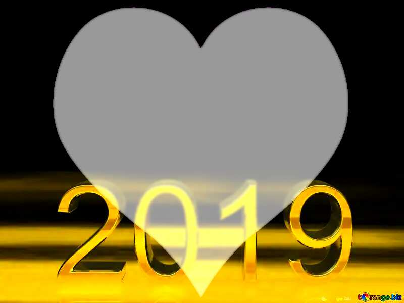 2019 3d render gold digits with reflections dark background isolated Heart №51520