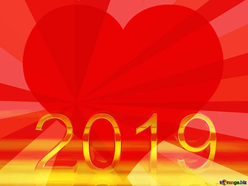 2019 3d render gold digits with reflections dark background isolated Heart Background Card Red Greeting №51520