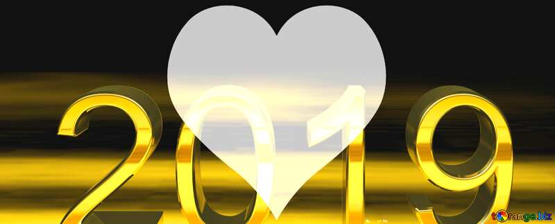 2019 3d render gold digits with reflections dark background isolated Heart Love №51520