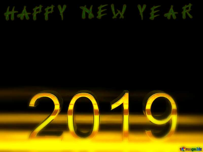 2019 3d render gold digits with reflections dark background isolated Isolated Happy New Year №51520
