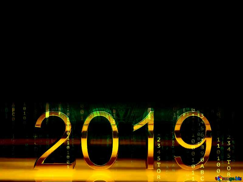 2019 3d render gold digits with reflections dark background isolated Matrix Style №51520