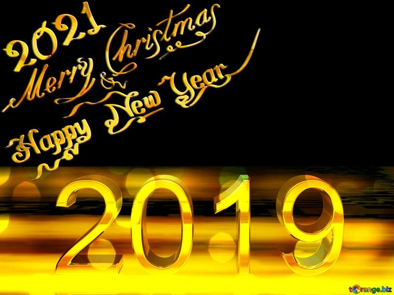 2019 3d render gold digits with reflections dark background isolated Merry Christmas Happy New Year №51520