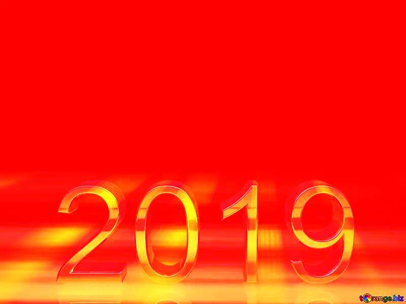 2019 3d render gold digits with reflections dark background isolated Red №51520