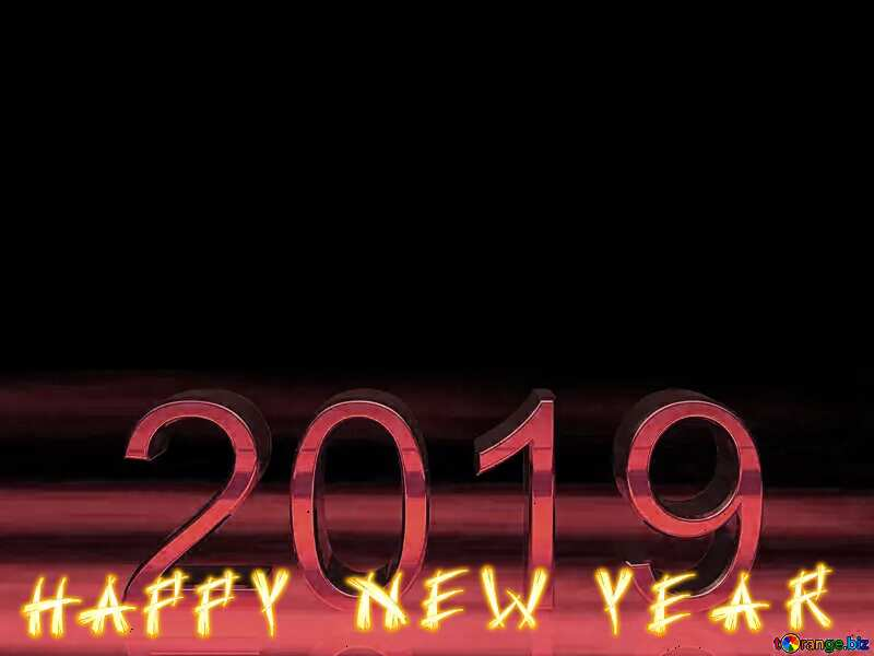 2019 3d render gold digits with reflections dark background isolated red happy new year №51520
