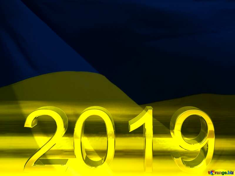 2019 3d render gold digits with reflections dark background isolated Ukraine №51520