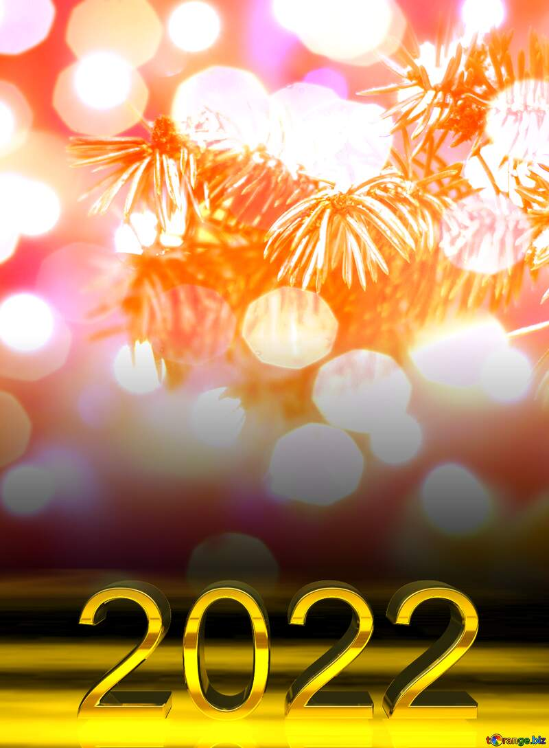 2022 gold digits    Christmas Bokeh background №15314