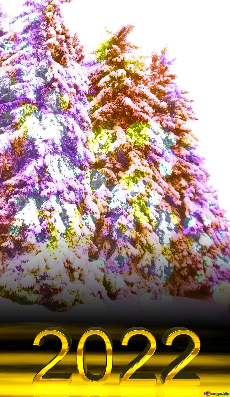 2022 gold digits   Colorful pine tree  Snow №10529