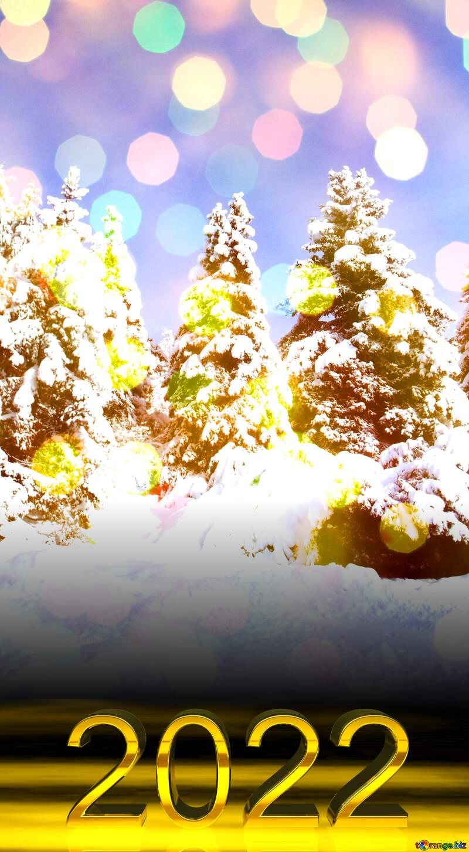 2022 gold digits   Pine Tree  Snow  sun №10576