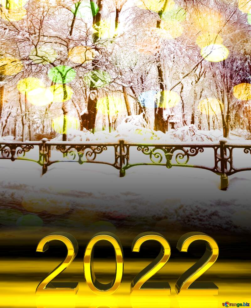 2022 gold digits   Snow City Park Tree sun template with bokeh background №15605