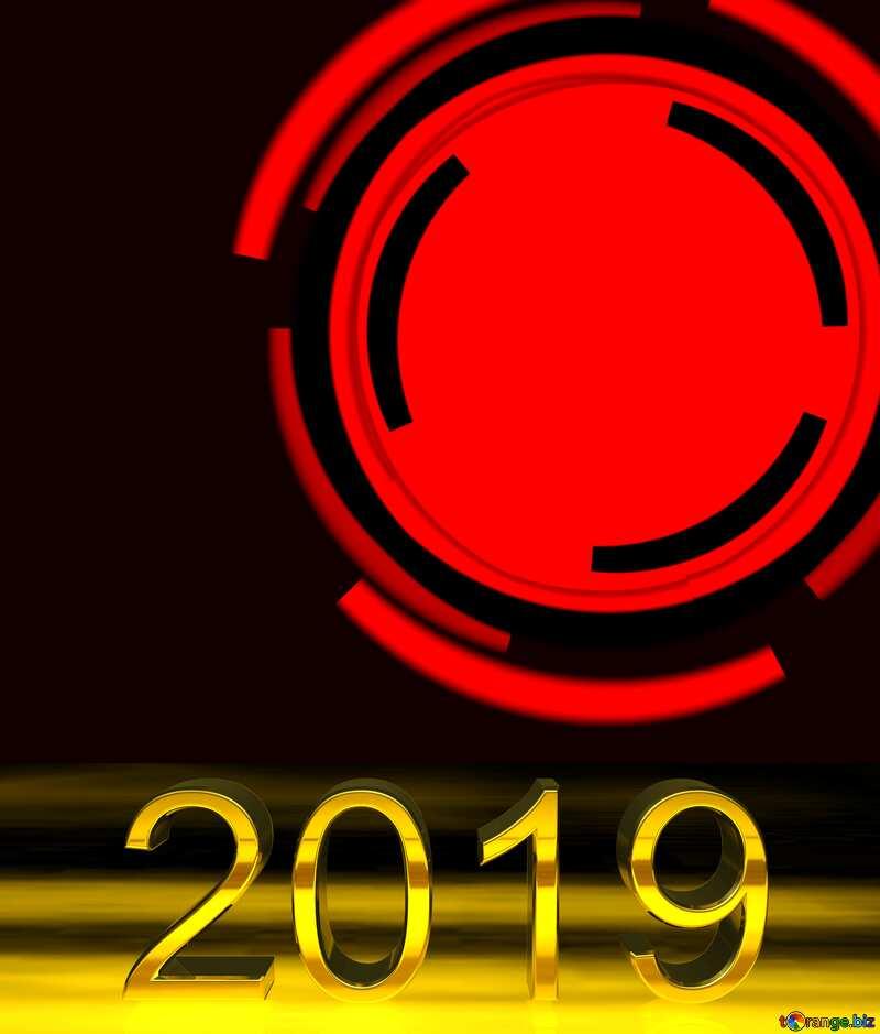 3d render 2019 gold digits Circle Infographics Frame №49680