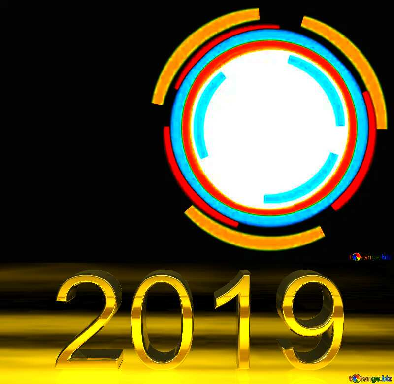 3d render 2019 gold digits Frame Circle №49680
