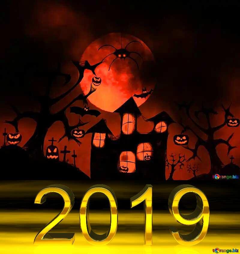 3d render 2019 gold digits Halloween №40470