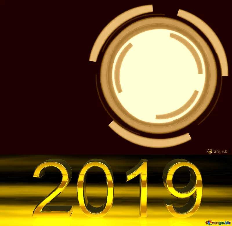 3d render 2019 gold digits Infographics Circle №49680