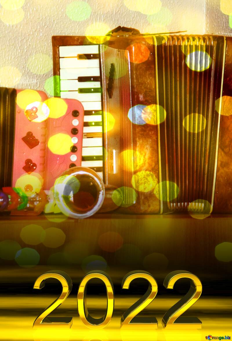 Accordion Bokeh background  2022 gold digits №10844