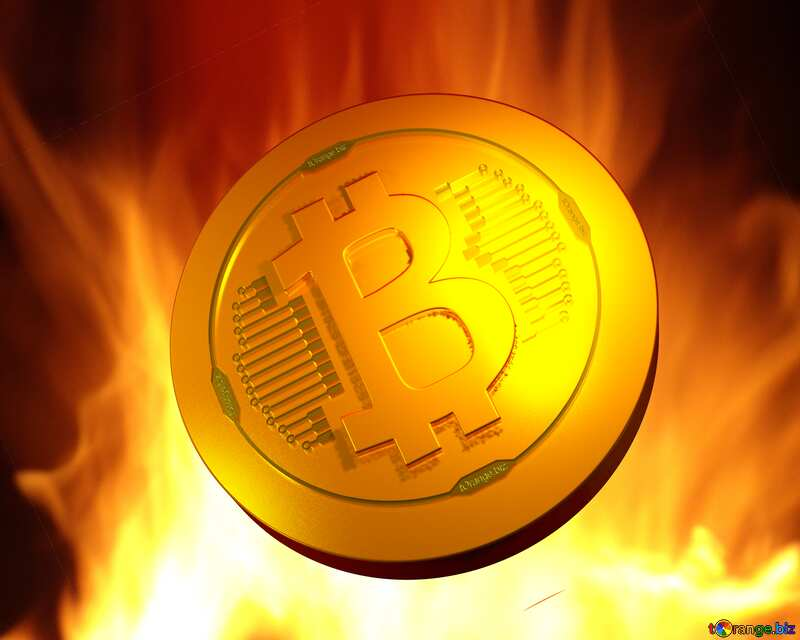 Bitcoin gold light coin Background. Fire  Wall. №9546