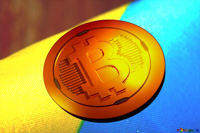 Bitcoin gold light coin Background with the flag of Ukraine №36245