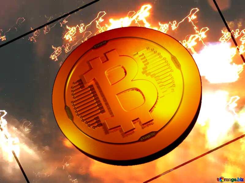 Bitcoin gold light coin Background.  Hazy.  Night  road №8044