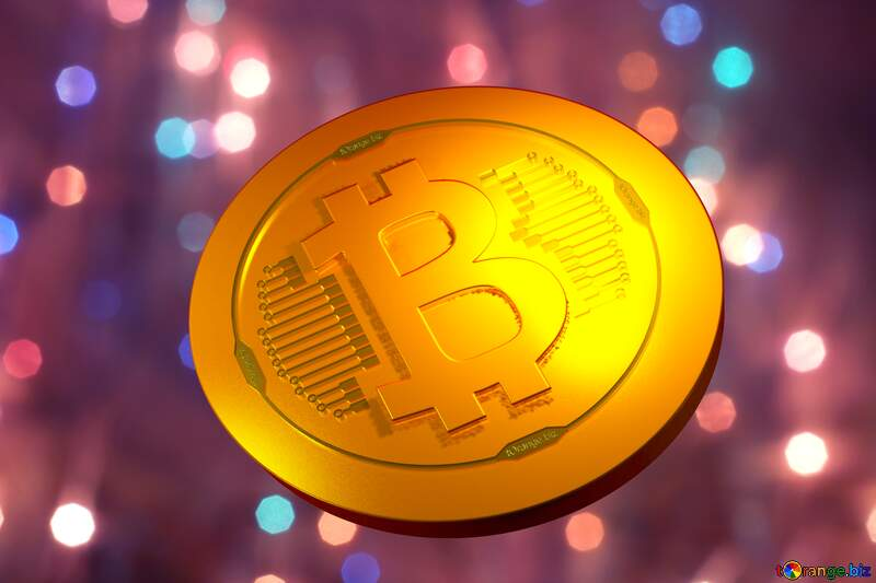 Bitcoin gold light coin Bright background for Christmas №24606