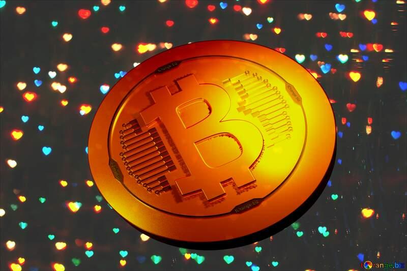Bitcoin gold light coin Christmas background №25905