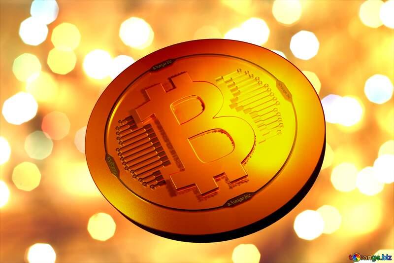 Bitcoin gold light coin Christmas background Christmas background №24617