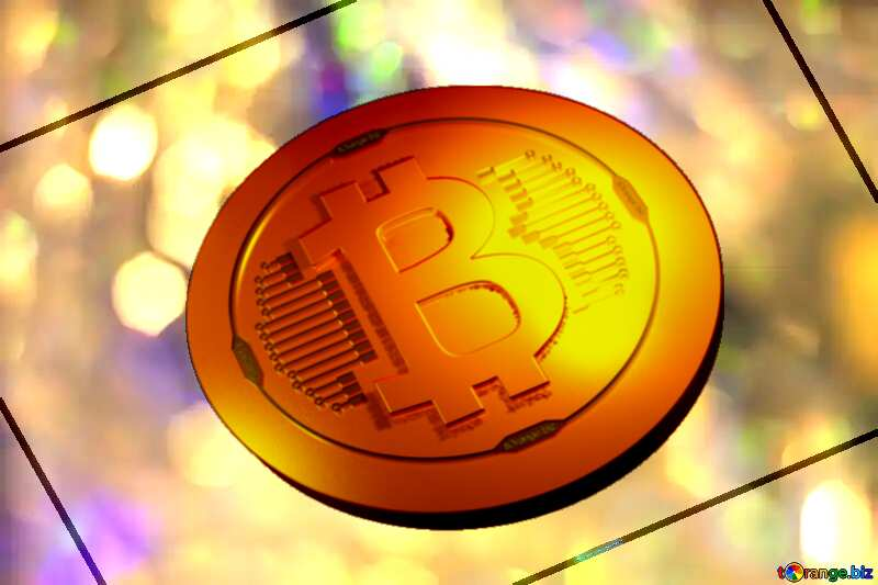Bitcoin gold light coin Color  festive  background. №7343