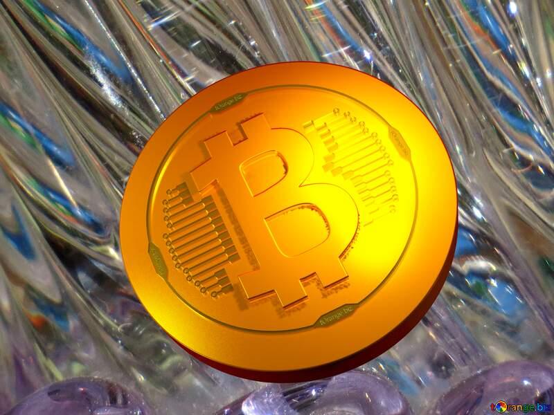 Bitcoin gold light coin Glass background №18044
