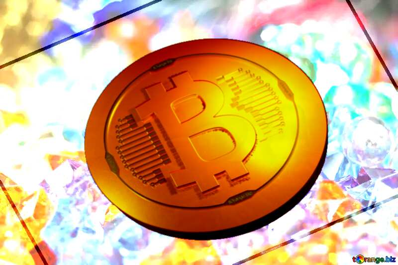 Bitcoin gold light coin Motley  background  at  festive  Card №6518