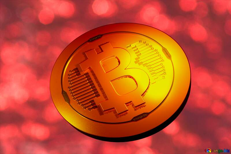 Bitcoin gold light coin Shiny red background №37825